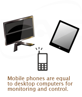 Monitor and control using PCs or mobile phones